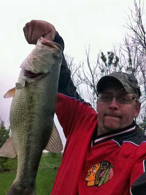 DuPage Angler Staff Writer Cranking King with Very Nice DuPage River Largemouth Bass